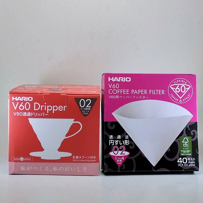 Paketan Hario V60 Coffee Dripper with Paper Filter 02 Pour Over Kit