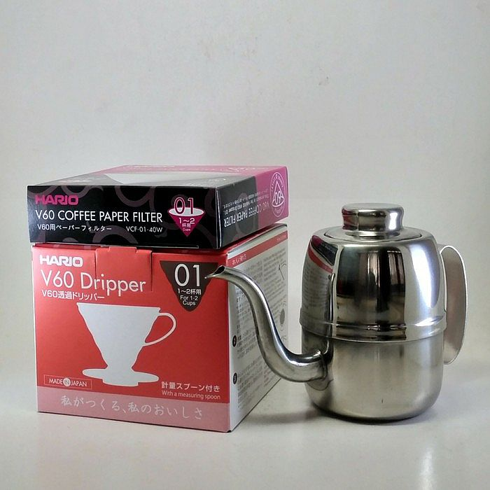 Paket Hario V60 Coffee Dripper 01 + Paper Filter 01 + Kettle 420 ml