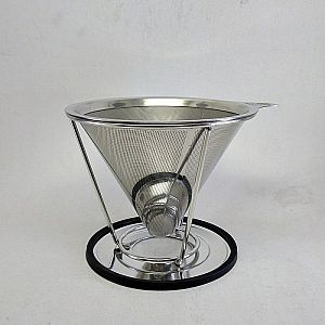 Double Mesh Metal V60 Stainless Steel Coffee Dripper for 1-4 Cups