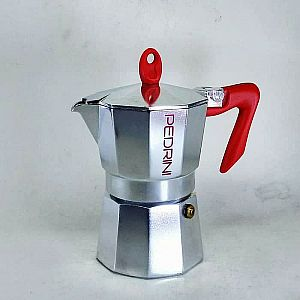 Pedrini Kaffettiera Polished Aluminium Moka Pot Coffee Maker for 3 Cup
